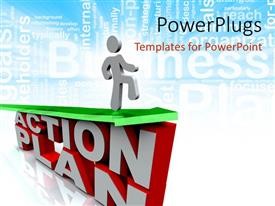 PowerPlugs: PowerPoint template with gray figure walking on green arrow above words Action Plan in front of word cloud