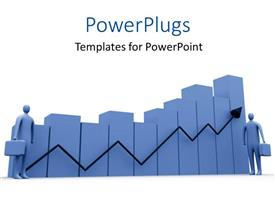 PowerPlugs: PowerPoint template with gray figures with briefcases at either end of bar chart and black arrow indicating growth