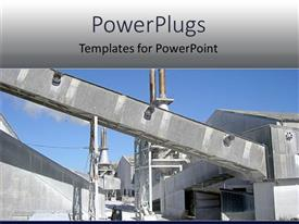 PowerPlugs: PowerPoint template with gray industrial building against clear blue sky