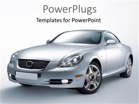 PowerPoint template displaying gray luxury car prototype, new car on gradient gray background