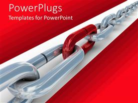 PowerPlugs: PowerPoint template with gray metal chains joined by red chain link in red background