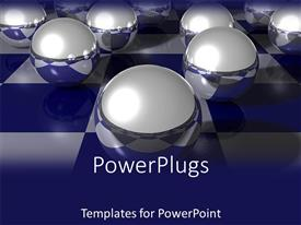 PowerPoint template displaying gray metal spheres placed on blue-white checkers pattern surface