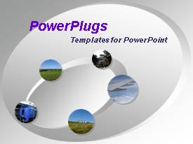 PowerPlugs: PowerPoint template with gray oval ring with five multi colored travel spheres