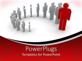PowerPlugs: PowerPoint template with gray people with a red person in front of them, displayed as domino pieces from smaller to larger on white and red background