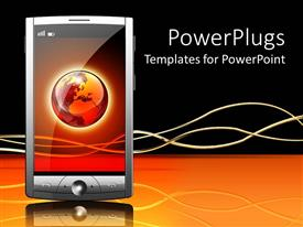 PowerPoint template displaying gray smart phone with globe displayed on touch screen