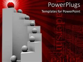 PowerPlugs: PowerPoint template with gray spheres on stairs with red sphere at top