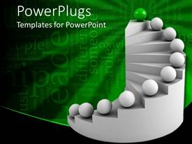 PowerPlugs: PowerPoint template with gray staircase with matching spheres, green top and background