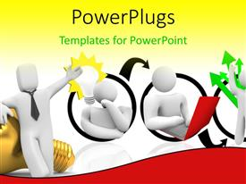 PowerPlugs: PowerPoint template with cycle of great idea yielding huge financial profit with light bulb