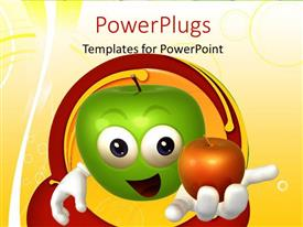 PowerPlugs: PowerPoint template with green 3D cartoon character with red apple in hand