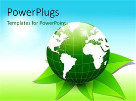 PowerPlugs: PowerPoint template with green 3D globe placed on green leaves with blue and green shades