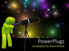 PowerPlugs: PowerPoint template with a green 3d human figure looking through a telescope