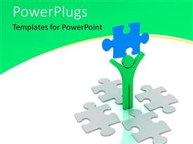 PowerPlugs: PowerPoint template with green 3D man lifts up blue colored puzzle piece on white background