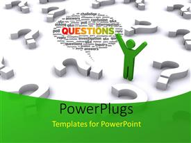 PowerPlugs: PowerPoint template with green 3D man with question mark symbols on white background
