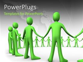 PowerPlugs: PowerPoint template with green 3D men holding hands form circle over white background