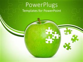 PowerPlugs: PowerPoint template with green apple close up in white and green background with puzzle pieces
