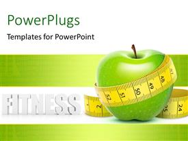 PowerPlugs: PowerPoint template with a green apple with a measurement tape and place for text