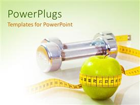 PowerPlugs: PowerPoint template with a green apple with a measuring tape and greenish background