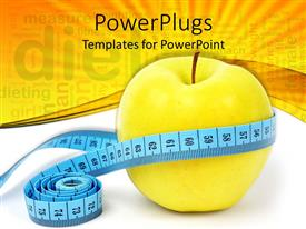 PowerPoint template displaying green apple with measuring tape round depicting healthy diet