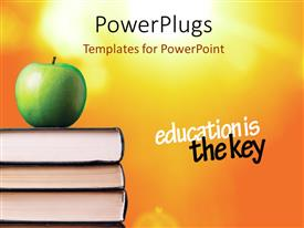 PowerPlugs: PowerPoint template with green Apple over books with saying ' education is the key'