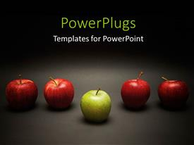PowerPlugs: PowerPoint template with green apple stands out from red apples in line over grey background