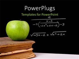 PowerPoint template displaying green apple on vintage book with equation written on chalkboard