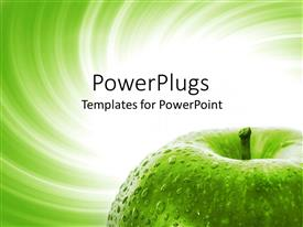 PowerPlugs: PowerPoint template with a green apple with water droplets and greenish background