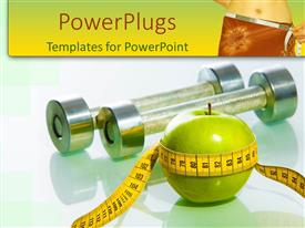 PowerPoint template displaying green apple with yellow measuring tape around apple, two small dumbbells on glossy surface