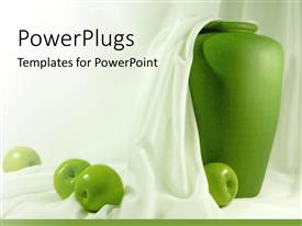 PowerPoint template displaying green apples on white cloth in front of vase