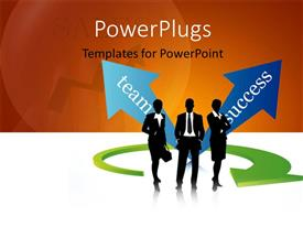 PowerPoint template displaying green arrow around business team with depiction of success from teamwork