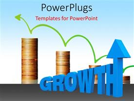 PowerPoint template displaying green arrow on gold coin chart with 3D word GROWTH