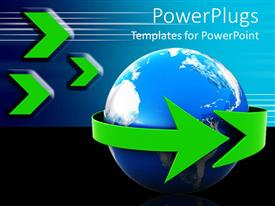 PowerPoint template displaying green arrow wrapping around Earth, logistics, travel, global communications