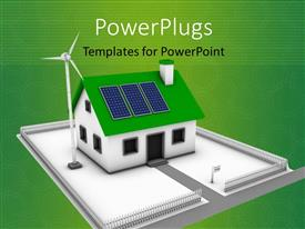 PowerPlugs: PowerPoint template with green background with 3D rendering of house powered by solar panels