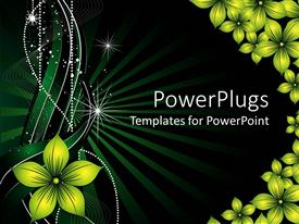 PowerPoint template displaying a green background is decorated with yellow flowers and white glowing lines