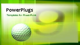 PowerPoint template displaying a green background with a number of patterns and a golf ball - widescreen format