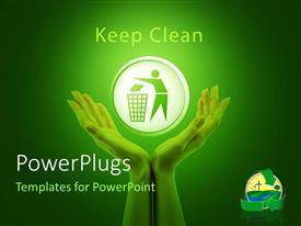 PowerPoint template displaying green background with symbol of man recycling in hands