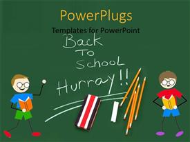 PowerPoint template displaying green background with two kids, pencils and chalk with text back to school