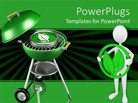 PowerPlugs: PowerPoint template with green barbecue grill with metallic leaf on it and man holding leaf