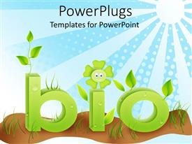 PowerPlugs: PowerPoint template with green bio sign planted on brown soil