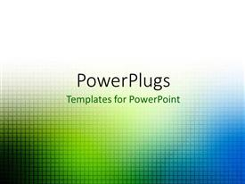 PowerPlugs: PowerPoint template with green and blue blur grid over white background