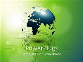 PowerPlugs: PowerPoint template with green and blue globe on abstract background