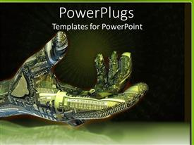 PowerPoint template displaying green and blue robot hand with circuitboard with black and green background and green light burst