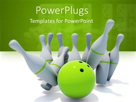 PowerPoint template displaying green bowling ball next to white pins on white surface