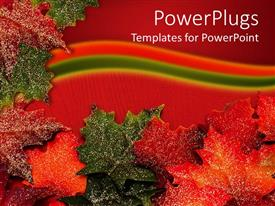 PowerPlugs: PowerPoint template with green and brown colored autumn leaves on a red background