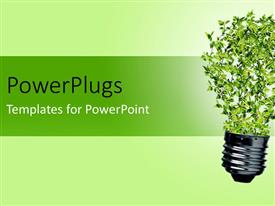PowerPlugs: PowerPoint template with green bulb with leaves as a symbol of energy and nature depicting recycle concept
