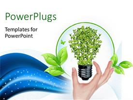 PowerPoint template displaying green bulb as symbol of sustainable energy and nature protection with blue waves in the background