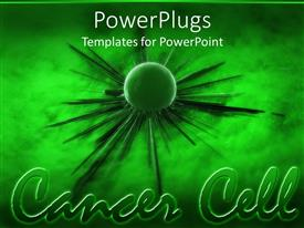 PowerPoint template displaying green cancer cell spreading green background