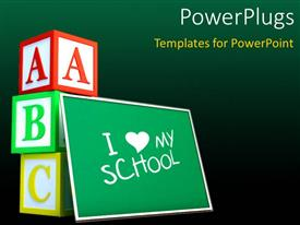 PowerPlugs: PowerPoint template with green chalkboard with text I love school and letter cubes