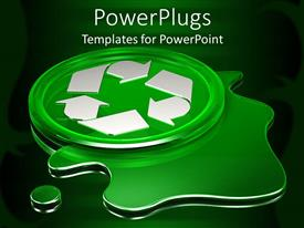 PowerPlugs: PowerPoint template with green circle with white recycle logo on green liquid