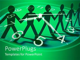 PowerPoint template displaying green clock and paper chain dolls teamwork green and black background