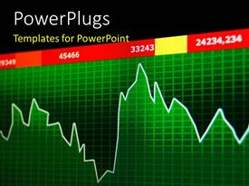 PowerPoint template displaying a green colored 3d chart with some figures